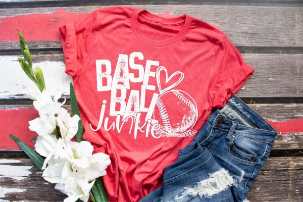 "(1) Short sleeve shirt ""Baseball Junkie"" (accessories in the photo are not included)."