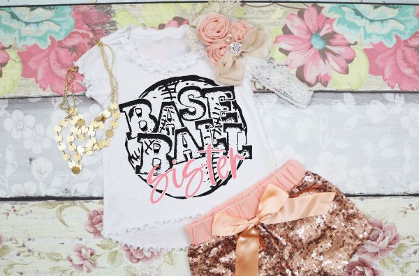"(1) Short sleeve shirt ""Baseball Sister - Youth Shirt"" (accessories in the photo are not included)."