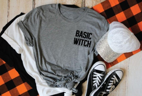 "(1) Short sleeve shirt ""Basic Witch"" (accessories in the photo are not included)."