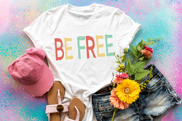 "1) Short sleeve shirt ""Be Free"" (accessories in the photo are not included)"