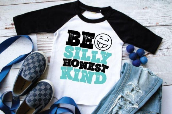 "(1) 3/4 sleeve shirt ""Be Silly Honest Kind"" (accessories in the photo are not included)"