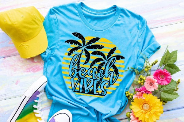 "(1) Short sleeve shirt ""Beach Vibes"" (accessories in the photo are not included)"
