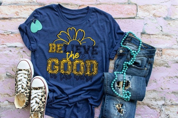 "(1) Short sleeve shirt ""Believe There Is Good In The World"" (accessories in the photo are not included)"