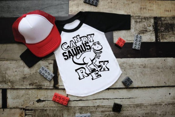 "(1) 3/4 sleeve shirt ""CandySaurus Rex"" (accessories in the photo are not included)."