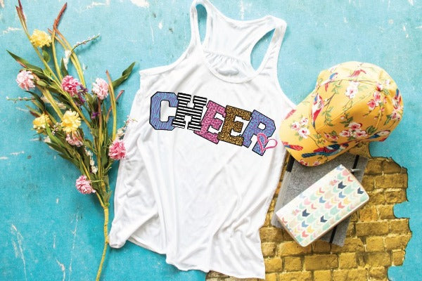 "(1) Flowy Racerback Tank ""Cheer"" (accessories in the photo are not included)"