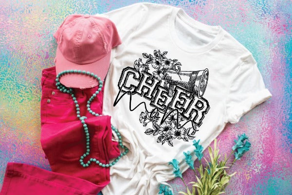 "(1) Short sleeve shirt ""Cheer Mom Floral"" (accessories in the photo are not included)."