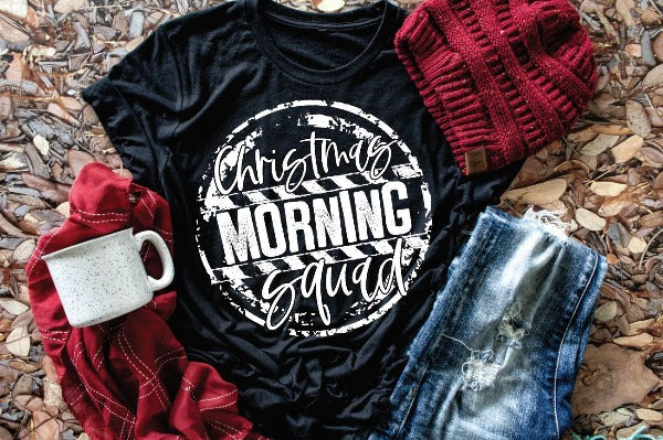 "(1) Short sleeve shirt ""Christmas Morning Squad"" (accessories in the photo are not included)."