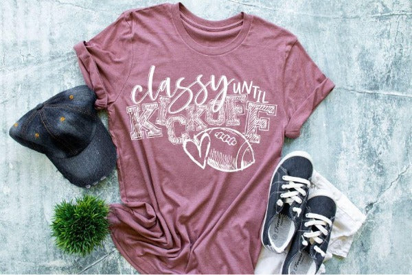 "(1) Short sleeve shirt ""Classy Until Kickoff"" (accessories in the photo are not included)"