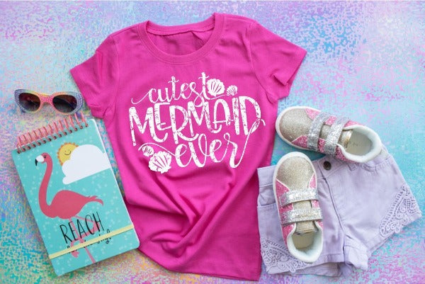 "(1) Short sleeve shirt ""Cutest Mermaid Ever"" (accessories in the photo are not included)"