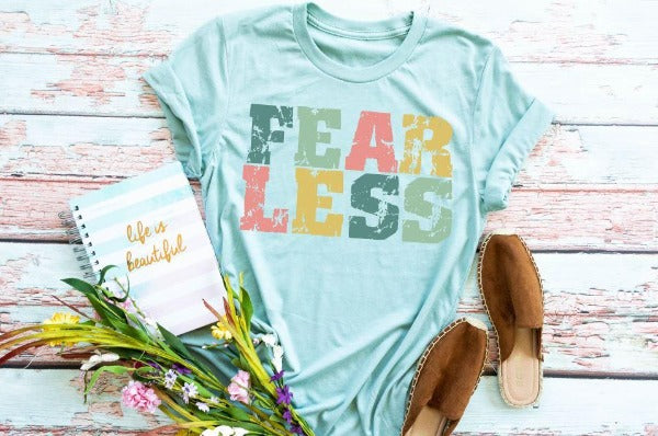 "(1) Short sleeve shirt ""Fearless"" (accessories in the photo are not included)"