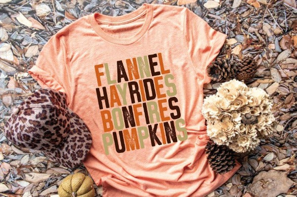 "1) Short sleeve shirt ""Flannel Hayrides Bonfires Pumpkins"" (accessories in the photo are not included)"