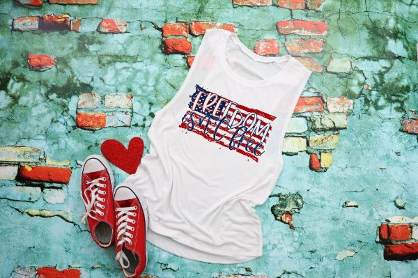 "(1) Flowy scoop muscle tank ""Freedom Isn't Free"" (accessories in the photo are not included)"