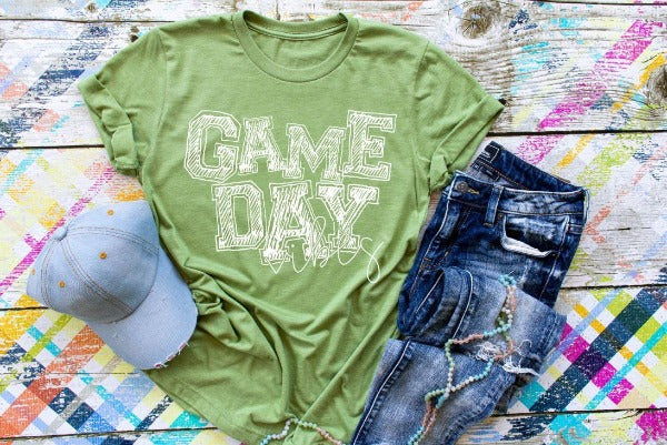 "(1) Short sleeve shirt ""Game Day Vibes"" (accessories in the photo are not included)"