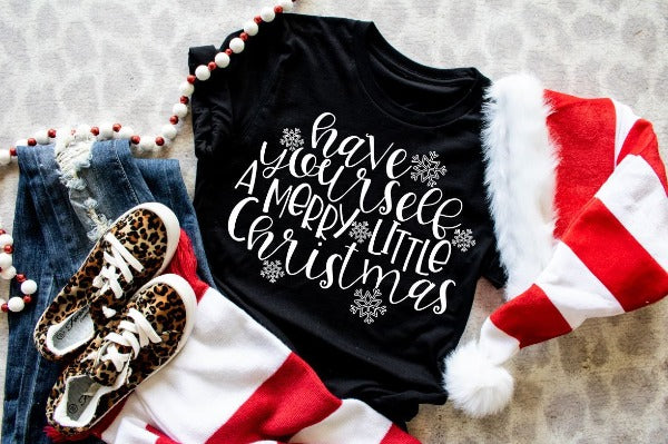 "1) Short sleeve shirt ""Have Yourself A Merry Little Christmas"" (accessories in the photo are not included)"