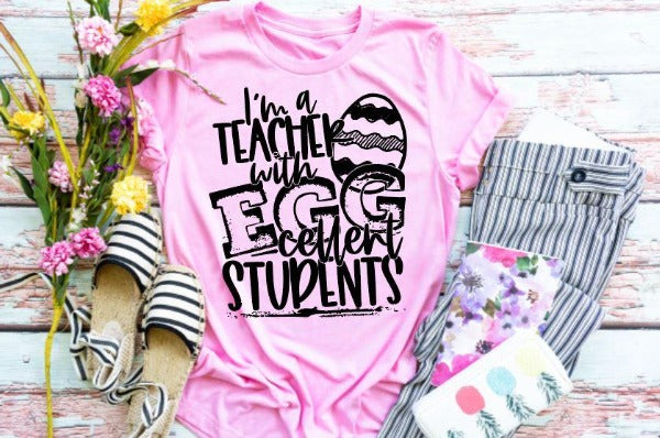 "(1) Short sleeve shirt ""I'm A Teacher With EGGcellent Students"" (accessories in the photo are not included)."