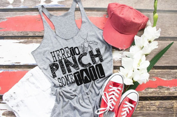 "(1) Short sleeve shirt ""Here To Pinch Some Tail"" (accessories in the photo are not included)"