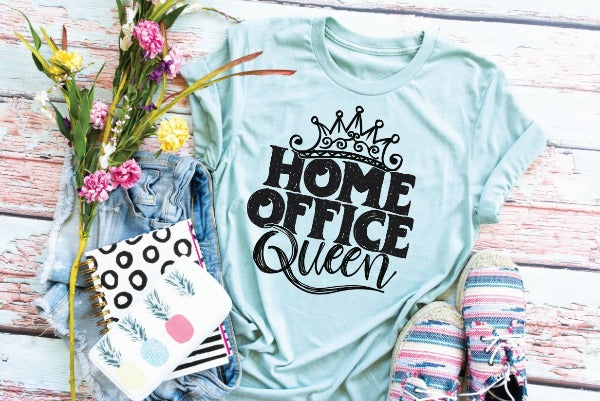 "(1) Short sleeve shirt ""Home Office Queen"" (accessories in the photo are not included)."
