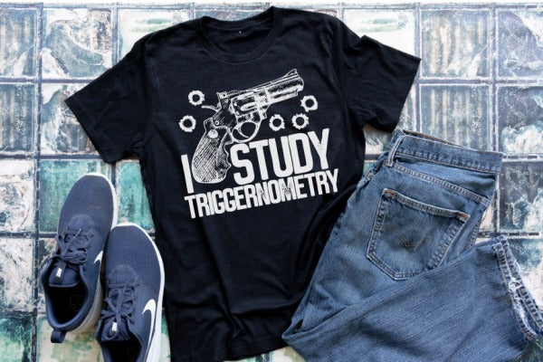"(1) Short sleeve shirt ""I Study Triggernometry'"" (accessories in the photo are not included)."