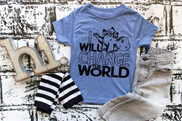 "(1) Short sleeve shirt ""I Will Change The World- Youth Shirt - Youth Shirt"" (accessories in the photo are not included)."