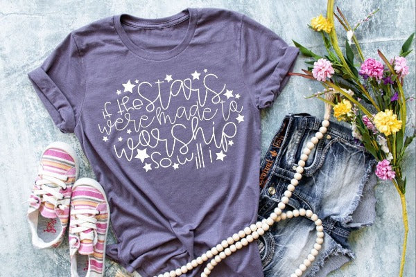 "(1) Short sleeve shirt ""If The Stars Were Made To Worship So Will I"" (accessories in the photo are not included)"
