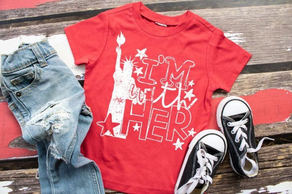 "1) Short sleeve shirt ""I'm With Her"" (accessories in the photo are not included)"