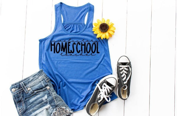 "(1) Racerback Tank ""Involuntary Homeschool Teacher"" (accessories in the photo are not included)"