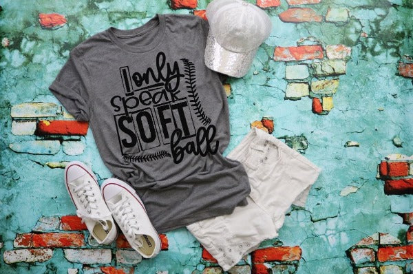 "(1) Short sleeve shirt ""I Only Speak Softball"" (accessories in the photo are not included)."