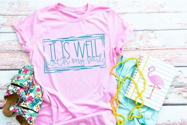 "(1) Short sleeve shirt ""It Is Well With My Soul"" (accessories in the photo are not included)"