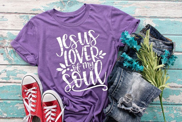 "(1) Short sleeve shirt ""Jesus Lover Of My Soul"" (accessories in the photo are not included)"