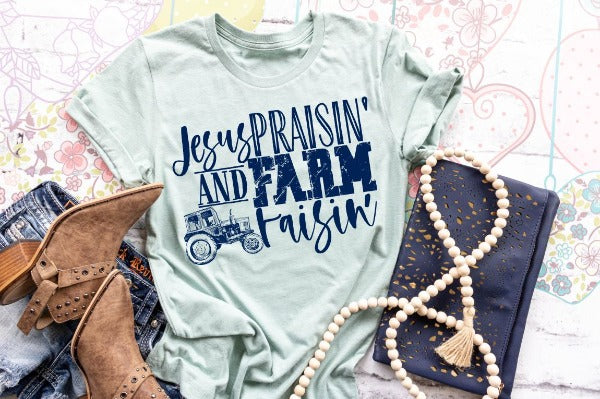 "(1) Short sleeve shirt ""Jesus Praisin' And Farm Raisin'"" (accessories in the photo are not included)"