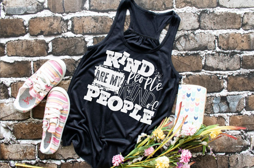 "(1) Flowy Racerback Tank ""Kind People Are My Kind Of People"" (accessories in the photo are not included)."