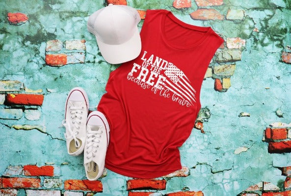 "(1) Flowy scoop muscle tank ""Land Of The Free Because Of The Brave'"" (accessories in the photo are not included)"