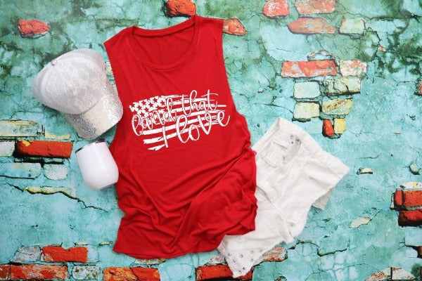 "(1) Flowy scoop muscle tank ""Land That I Love"" (accessories in the photo are not included)"