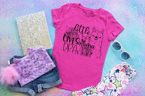 "(1) Short sleeve shirt ""Little Llama Gives Mama Drama - Youth Shirt"" (accessories in the photo are not included)"
