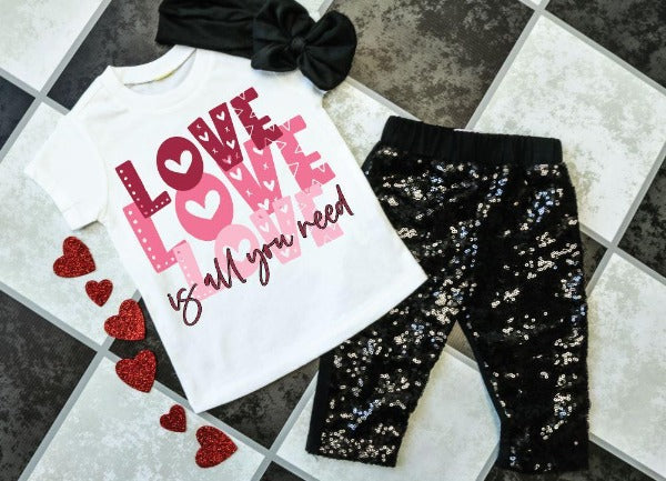 "(1) Short sleeve shirt ""Love Love Love Is All You Need - Youth Shirt"" (accessories in the photo are not included)."