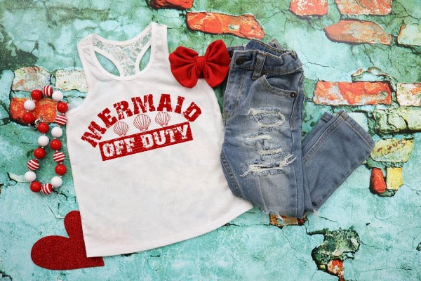 "(1) Tank top ""Mermaid Off Duty"" (accessories in the photo are not included)"