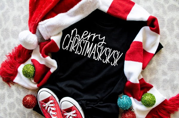 "(1) Short sleeve shirt ""Merry Christmasksksk"" (accessories in the photo are not included)"