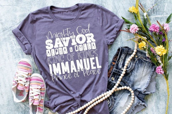 "Short sleeve shirt ""Mighty God Savior Alpha & Omega King Of Kings Immanuel Prince Of Peace"" (accessories in the photo are not included)."
