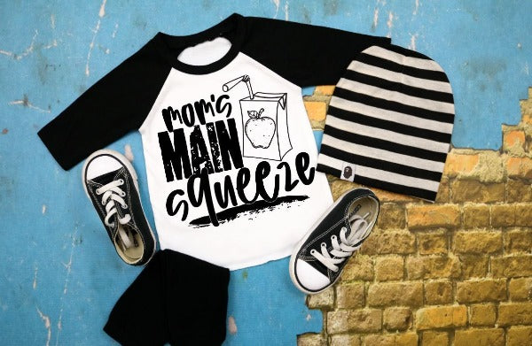 "(1) 3/4 sleeve shirt ""Mom's Main Squeeze - Youth Shirt"" (accessories in the photo are not included)."