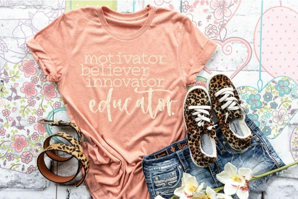 "(1) Short sleeve shirt ""Motivator Believer Innovator Educator"" (accessories in the photo are not included)"