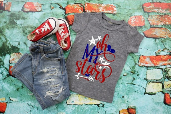 "(1) Dark Grey Heather short sleeve shirt ""Oh My Stars"" (accessories in the photo are not included)"