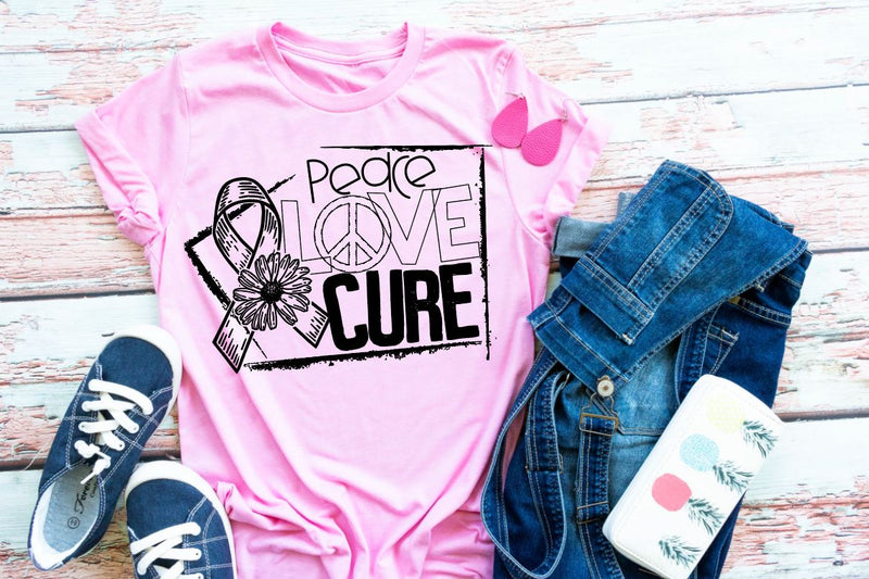 "(1) Short sleeve shirt ""Peace Love Cure"" (accessories in the photo are not included)."