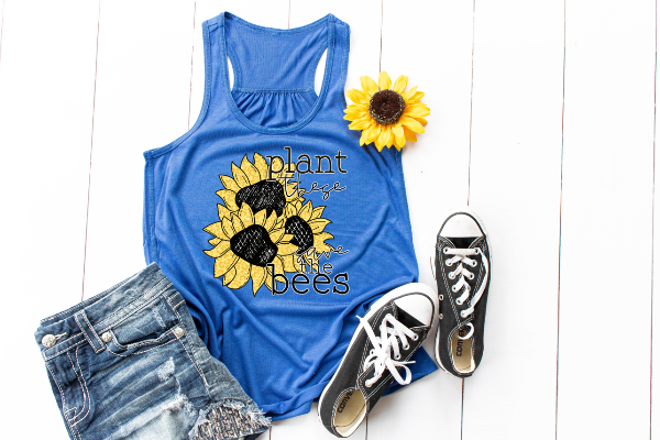 "(1) Racerback Tank ""Plant These Save The Bees"" (accessories in the photo are not included)"