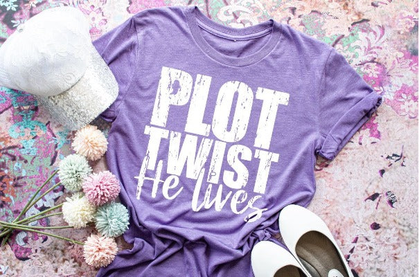 "(1) Short sleeve shirt ""Plot Twist He Lives"" (accessories in the photo are not included)"