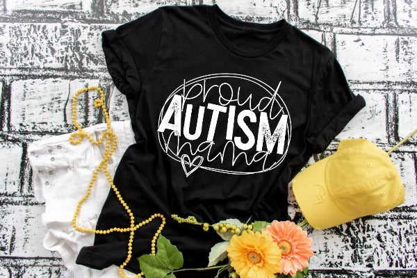 "(1) Short sleeve shirt ""Proud Autism Mama"" (accessories in the photo are not included)."
