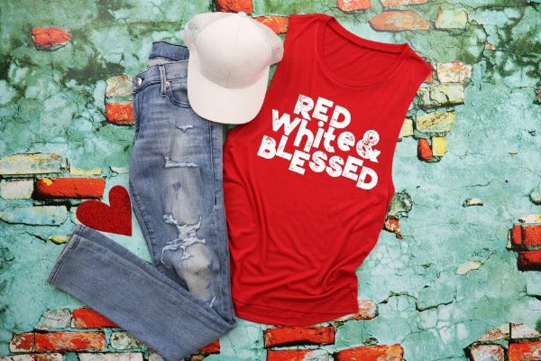 "Included: (1) Flowy scoop muscle tank ""Red White & Blessed"" (accessories in the photo are not included)"