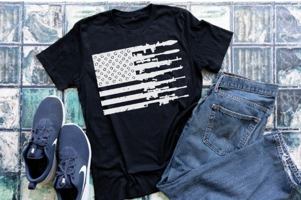 "(1) Short sleeve shirt ""Rifle Flag"" (accessories in the photo are not included)."