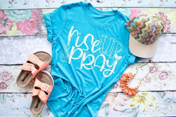 "(1) Short sleeve shirt ""Rise Up And Pray"" (accessories in the photo are not included"