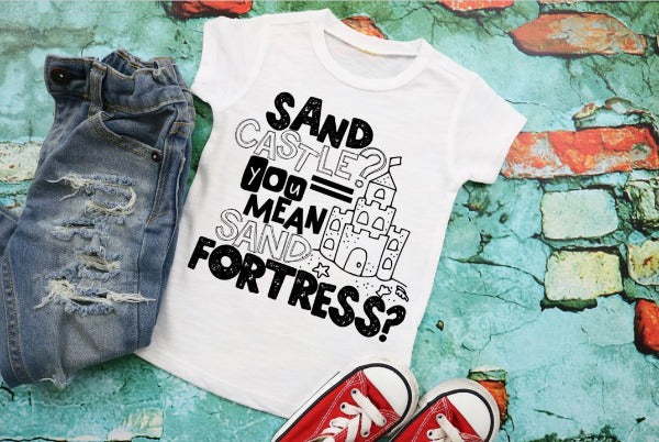 "(1) White short sleeve shirt ""Sand Castle? You Mean Sand Fortress?"" (accessories in the photo are not included)"