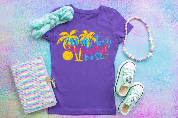 "1) Short sleeve shirt ""Sandy Toes Sunkissed Nose"" (accessories in the photo are not included)"